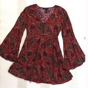 Burgundy Boho Bell Sleeve VNeck Dress with Buttons